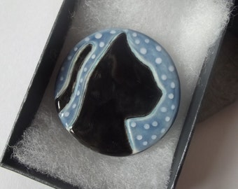 Ceramic Pottery Large Black Cat Brooch Pin, Shawl Pin, Cloak PIn, Black Cat Jewellery, Goddess, Animal Jewellery, Cat Totem, Witch, Wicca