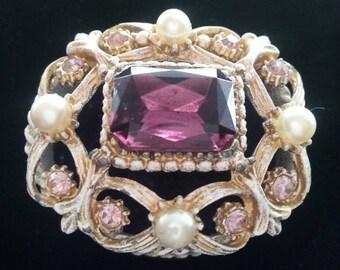 Now On Sale Adorable vintage purple lavender rhinestone faux pearl purple  velvet midcentury trinket box 1950s 1960s