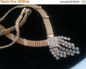 Now On Sale Vintage Rhinestone Necklace * Old Hollywood Glamour * Mad Men Mod * 1940's 1950's Vintage Jewelry * Art Deco Jewelry