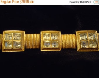 Now On Sale Signed Vintage Chunky Rhinestone Bracelet 1980's Retro Glamour Girl Style Jewelry