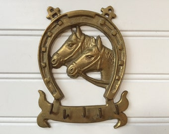 Brass Horse Hook - Key Hook - Closet Organizer - Vintage Equestrian Decor - Jewelry Organizer