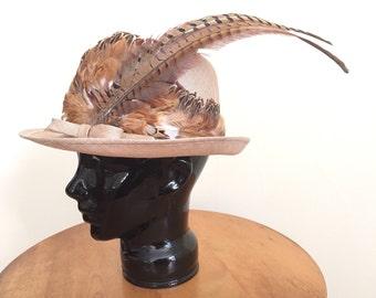Vintage Feather Hat - Womens Hat - Formal Hat - Straw Hat - Ladies Brimmed Hat Women