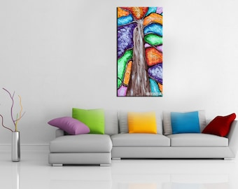 Abstract tree painting, colorful, fall, whimsical, tree of life, four season tree, home decor, wall art, palette knife, textured, thick