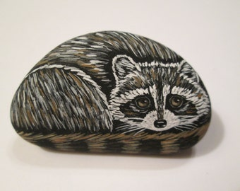 Raccoon hand painted on a stone - pet rock - miniature - by Ann Kelly