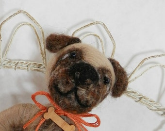 Needle felted pug puppy ornament, pup in wool heart, heart ornament, Pet Pocket ornament by Curly Furr, custom dog ornament, ready to mail