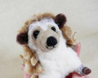 Needle felted hedgehog, chubby hedgehog, felted woodland creature, brown roving hedgy, wool animal figurine, natural fleece hedgehog