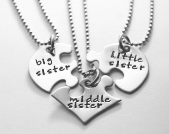 Sister necklace - three sisters - hand stamped stainless steel - Any text that fits - three friends - three cousins