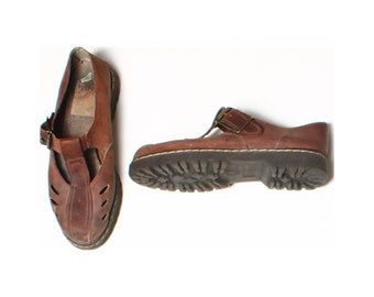 Vintage 90s Chunky Brown Real Leather Buckle Mary Janes Shoes UK 4 US 6.5 EU 37