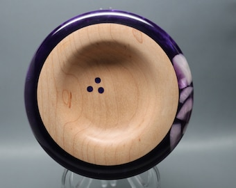 Artistic Handmade Wooden Ring Coin Dish made of Maple with and Exquisite Purple Pearl Resin Inlay – Wedding Gift, Collectible