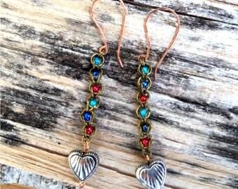"Captive Bead Chainmaille Pierced Earrings ""Captive Heart"""