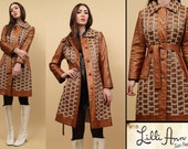 60s 70s Vtg LILLI ANN Wet Look Embroidered Amber Brown SPY Trench Coat Collared Jacket / Mod Hippie Rocker Glam *Distressed As-Is* / Sm Med