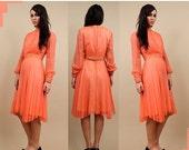 15% OFF 1DAY SALE 60s Vtg Genuine SiLk Emma Domb Dress / Day-glo Peach Beaded Cuff + Waist / Flutter Skirt Cocktail Gown / Xs - Sm