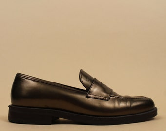 90s Vtg Metallic BRONZE Genuine Leather Penny Loafer / TOMMY HILFIGER Slip On Platform Heel Oxford / Mod Minimalist 7 Eu 37.5