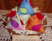 Primitive Whimsical Country Scrappy CHICKENS CHOOKS Bean Bags Lavendar Sachets Pattern Weights Tucks Bowl Fillers Ornaments Ornies