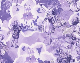 FAIRY DREAM LAND Michael Miller fabric By the half yard toile lilac purple fairies with glitter on wings