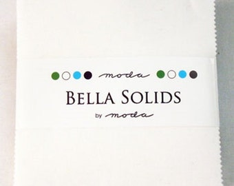 """charm pack  Bella Solid WHITE BLEACHED moda fabric 42 -5"""" squares"""