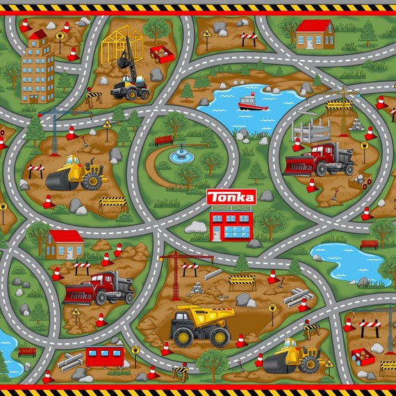 road work fabric panel quilting treasures play mat. Black Bedroom Furniture Sets. Home Design Ideas