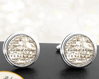 Map Cufflinks Coeur D Alene ID Cuff Links State of Idaho for Groomsmen Wedding Party Fathers Dads Men