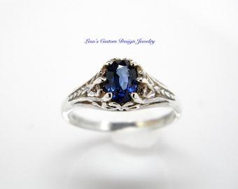 Blue Kyanite filigree sterling silver ring