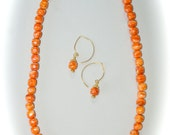 Orange Spiney Oyster Necklace and Earing Set