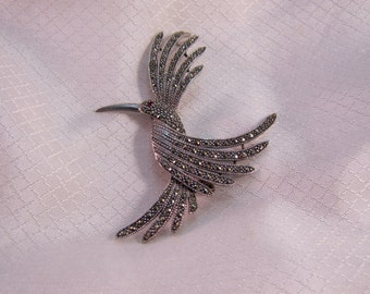 Vintage Sterling and Marcasite Studded Hummingbird Brooch