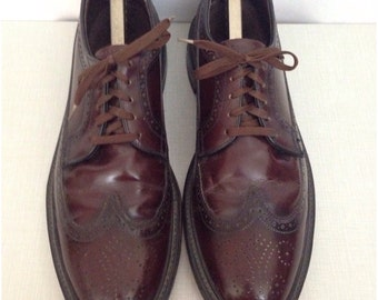 Vintage 1960s Oxblood Smooth Leather Long Wing Lace Up Wingtip Brogues Shoes  / Men's 12B / 60s Mod Suedehead Spade Soles