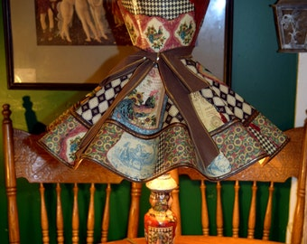 French Country Upcycled Vintage Scallop Bell Decoupage Shade and Lamp