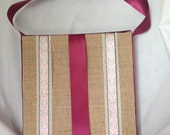 Trendy Burlap Covered Bow Display Board Burgundy and Pink