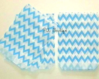 "25ct. Light Blue & White ZIG ZAG CHEVRON 5-1/8""w x 6-3/8h"" Printed Paper Treat Goodie Bags Baggies Candies Popcorn Cookies"