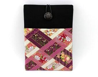 iPad Sleeve, Tablet Case, Gift Idea Under 25 Kimono Cotton Fabric Floral Rhombus Purple