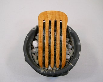 5 prong figured maple wood hair fork