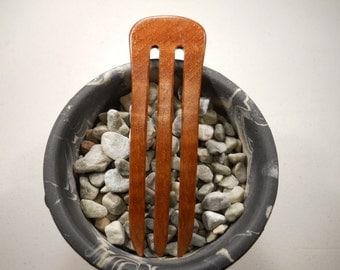 3 prong Pyinma wood hair fork
