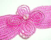 Pink CL French Beaded Fascinator - Silver-lined Collection - Available on a Barrette, Hair Clip, Hair Comb, or Beaded Headband Base