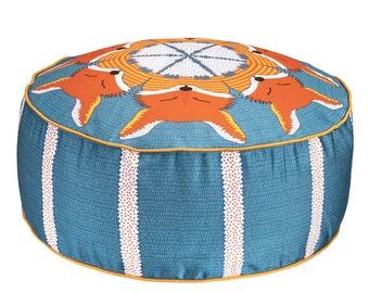 Round Blue Orange Fox Pouffe Beanbag