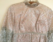 Vintage 1960s Mod Silver Metallic Lace Baby Doll Holdiay Party Dress Size 9