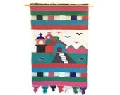 Vintage Fiber Art Wall Hanging Textile Southwestern Theme with Church Homes
