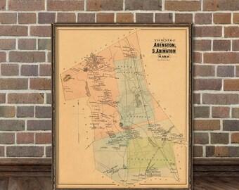 Abington map - Vintage map of Abington print - Old map of Abington - Fine reproduction