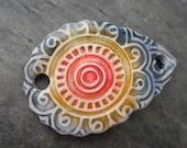 Mandala- handmade ceramic bracelet bar with floral pattern blue green red 9437
