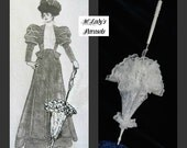 "Victorian ""WALKING STICK"" PARASOL Umbrella in Your Choice Color Lace with Lace Ruffle and Long Handle Civil War Wedding Bridal Bridesmaid"