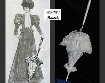 """Victorian """"WALKING STICK"""" PARASOL Umbrella in Your Choice Color Lace with Lace Ruffle and Long Handle Civil War Wedding Bridal Bridesmaid"""
