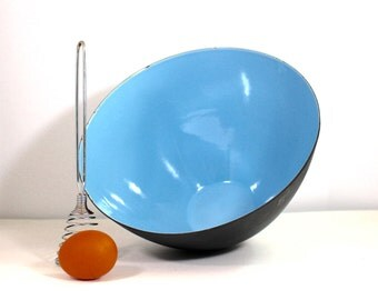 Krenit of Denmark  9 3/4 inch Bowl in Blue and Matte Black