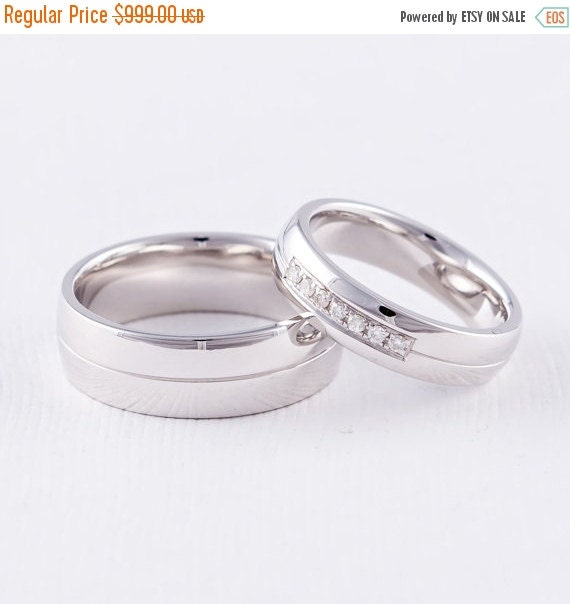 ON SALE Wedding Ring Sets His and Hers 14K by FirstClassJewelry