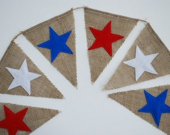 Bright Shabby Americana Burlap Banner With Felt Stars Red, White and Blue