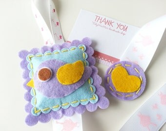 Sales : Lovely Felt Bird Hair Clip Holder - Purple