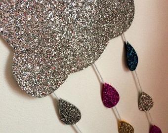 Glitter Rain Cloud Mobile // Children's Nursery Hanging // Home Decor // Ready to ship