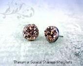 Rose Gold Druzy Earrings - 8mm, 10mm, 12mm Faux Druzy Stud Earrings Titanium or Stainless Steel Posts Metallic Rose Bronze Glitter Earrings