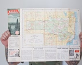 Vintage Map - Huron National Forst Park Michigan Upper Penisula National Geographic Park Map Cadillac  1963