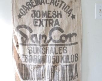 Vintage Canvas Feed Sack - Vintage SanCor Sunshales Argentina Bag Sack Cafe Caselina Lactica Vintage Bag Vintage Feed Sack