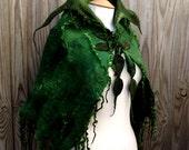 Custom Handmade green cape-Made to order -Woodland Felted cape -  fairytale cape-elven cape - Fairy cape - cape-green cape-spring-wedding