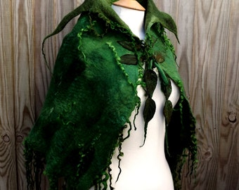 Custom Handmade green cape-Made to order -Wild  Moss Woodland Felted cape - Fairytale cape - elven cape - Fairy cape - halloween costume